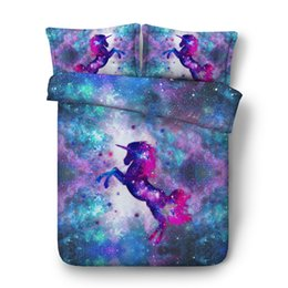 Beautiful Modern Bedding Australia - beautiful blue purple galaxy bedding sets 3pcs unicorn duvet covers for kids boys girls teens bedclothes 3d twin full queen king