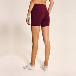 LU-05 2019 nuevo a través de pantalones cortos de yoga de cintura alta para mujeres Negro sólido Gimnasio deportivo Pantalones cortos Leggings Elastic Fitness Lady Pantalones cortos de mermeladas generales en venta
