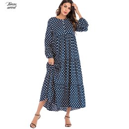 long sleeve korean maxi dress Australia - Fashion Dress Korean Polka Dot Print Dresses Women Maxi Long Dress Ruffle Long Sleeve Gowns Boho Vintage Designer Clothes