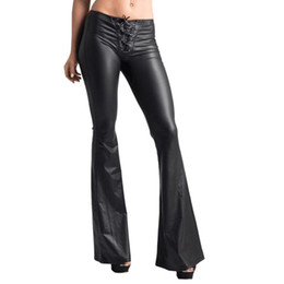 $enCountryForm.capitalKeyWord UK - Women's Sexy Faux Leather Leggings Flared Pants Solid Black Push Up Lace Up Bandage High Waist Stylish Long Trousers For Ladies