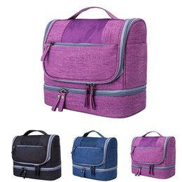 $enCountryForm.capitalKeyWord Australia - Unisex Two Compartment Dry And Wet Separator Cosmetic Bags Solid Color Hanging Tote Cosmetic Bag Large Capacity Waterproof Bag