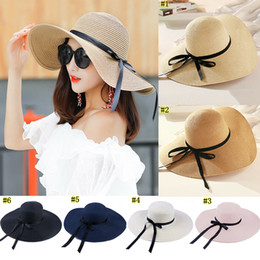 Ladies straw sun beach hat online shopping - round Top Raffia Wide Brim Straw Hats Summer Sun Hats for Women With Leisure Beach Hats Lady Flat Gorras MMA1484