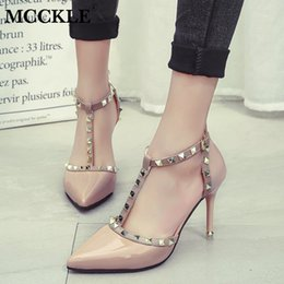 Girl Shoes For Women Australia - Dress Shoes MCCKLE Fashion Sexy Women Stiletto Pumps High Heels Ladies Pointed Toe Buckle Strap Rivets Patent Leather Party for Girls