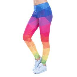 $enCountryForm.capitalKeyWord NZ - Autumn Winter Leggings Printed Women Legging Colorful Triangles Rainbow Legins High Waist Elastic Leggins Silm Women Pants