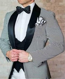 tuxedo men Canada - New Groomsmen Shawl Black Lapel Groom Tuxedos One Button Houndstooth Men Suits Wedding Prom Best Man Blazer ( Jacket+Pants+Vest)