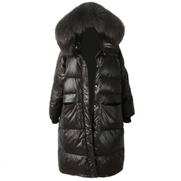 Wholesale girls down jacket fur hood resale online - Loose Warm Korean Winter Women Puffer Long Down Coat With Real Fur Hood Female Feather Jacket For Girls Parka Coats Outerwear SH190930