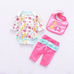 baby animal romper suits NZ - 2019 Cute Baby Girl Clothing Sets Cotton Baby Clothes Newborn Boy Suits 3pcs Long Sleeve Bodysuits Infant Romper+trousers+bib J190520