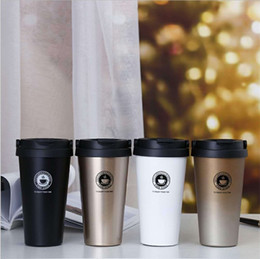water tumblers wholesale NZ - Portable Water Vacuum Cup 304 Stainless Steel Letters Prints Casual Coffee Mugs Car Tumbler 500ml High Capacity 17ld E1