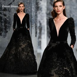 $enCountryForm.capitalKeyWord Australia - 2019 Black A-line Evening Gown Feather Sequins Beads Velvet Long Sleeve Prom Dresses Formal Dress Evening Wear Party Gown