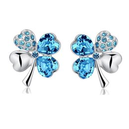 $enCountryForm.capitalKeyWord Australia - four Leaf Clover earrings stud women brand Top Quality popular Austrian Crystal Earrings 17 colors fashion jewelry