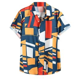 colorful mens shirts 2021 - Mens Contrast Color Geometric Printed Shirt Turn Down Collar Short Sleeve Loose Men Shirts Colorful Color Block Mens Shi