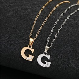pendant letters gold 18k Australia - English Alphabet -G gold silver Family friend Name Letters Sign Word Chain Necklaces Tiny Initial Letter pendant Necklace jewelry