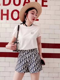 Cotton Drill Fabrics Australia - Women's new suit, high quality round neck print hot drilling cotton T-shirt high waist shorts, cotton fabric, summer explosion