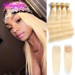 Straight virgin peruvian cloSure 4x4 online shopping - Peruvian Human Hair Bundles With X4 Lace Closure Blonde Silky Straight Virgin Hair Pieces one Set Hair Wefts