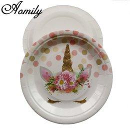 10pcs 18 cm fiore unicorno torta di frutta piatto bbq piatti di carta usa e getta compleanno festa di nozze forniture decorazione stoviglie bambino