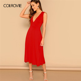 06f8a78d9ed1 wholesale Red Deep V Neck Pocket Side Fit And Flare Sexy Long Dress Women  2019 Summer Sleeveless Stretchy A Line Party