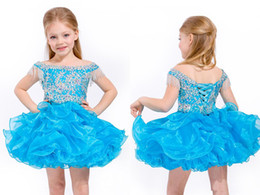 Train Cupcake Australia - Hot Sale Baby Girls Short Pageant Dresses With Straps Beadings Tassels Glitz Ball Gowns Beautiful Toddler Cupcake Flower Communion Dresses