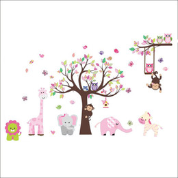 Wholesale Rainbow Fox Jungle Zoo With Owl Monkey Wall Decal Wallpaper Wall Sticker Wall Decor For Kid Room Nursery Home Decoration Zy