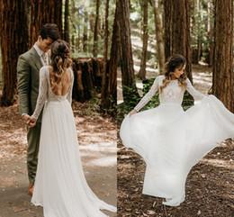 Wholesale white boho dresses for sale – plus size New Boho Wedding Dresses Long Sleeve Backless Chiffon Lace Bohemian Summer Country Beach Bridal Gowns vestido de novia Real Image