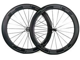 Wholesale 700C 60mm depth Road carbon wheels 25mm width Road bike clincher tubular carbon wheelset U-shape rim UD matte finish U shape rim