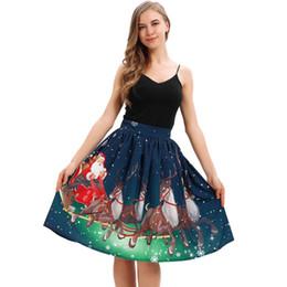 e763bbb80f Falda de cintura alta una línea plisada falda midi de la escuela de Navidad  Santa Flare elástica Cosplay de cintura alta falda del vestido de bola   9
