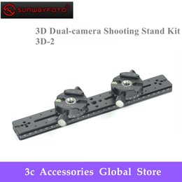 Wholesale SUNWAYFOTO Tripod Head Stereo Stereoscopic D Dual camera Shooting Stand Kit D Professional Tripode Heads With Slide