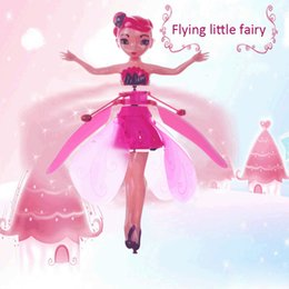 Drones leD lights online shopping - DIY Flying Fairy Dolls Toy Mini RC Drone Infrared Induction Control LED Light Flying Fairies Doll Helicopter Toys for Girls Xmas Gift