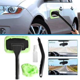 detail brushes Australia - Microfiber Car Window Cleaner Long Handle Car Wash Detailing Wiper Rag Windshield Glass Brush Care Cleaning Brush H8D7