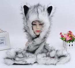 Hats Scarves Sets Australia - New Fashion Imitation fur Hat plush Cartoon Animal Hat Scarf Gloves One Cap Winter Set