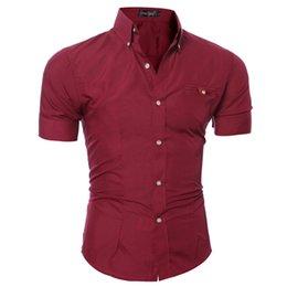 Men sliM dress business shirt online shopping - Men Shirt Solid Color Short Sleeve Chemise Homme Grande Taille Casual Slim Fit Dress Shirt Mens Summer Leisure Business