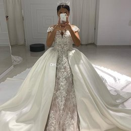 $enCountryForm.capitalKeyWord NZ - Vestio De Novia Lace Ball Gown Wedding Dresses With Detachable Train Lace Beaded Arabic Bridal Gowns Short Sleeve Country Wedding Dress