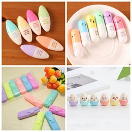 mini stationery sets Australia - 6pcs Pill Retractable Highlighter Set Oblique Fluorescent Pen Fashion Watercolor Pens Cute Marker Pen Painting Pens Stationery DBC VF1510