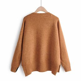 fake crystal beads Canada - Knitting Sweater Women New Fashion Pullover O Neck Fake pocket irregular Knitwear Knitted Sweater Pull Femme Loose Jumper Ladies