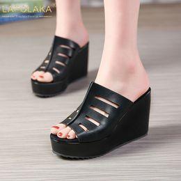 new summer wedges 2019 - LAPOLAKA New big Size 32-45 Mature Platform Slippers Women Summer Peep Toe High Heels Slides Women Wedges Shoes Woman ch
