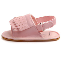 Wholesale Baby Girls Frosted Fringed Rubber Sole Baby Toddler Shoes Princess Fashion Sandals NSV775