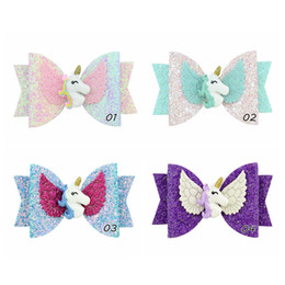 Baby Sequin Hair Clips Wholesale Australia - Unicorn Sequin Glitter Baby Girls Hairpin Bowknot Kids Barrettes Candy Color Hair Clip Children Hair Accessories Cute Hairclip 2019 A41902