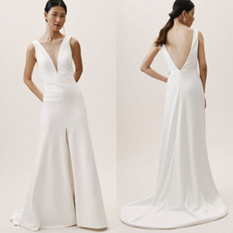 plus size v neck jumpsuit Australia - 2020 Bohomain Jumpsuits A Line Sleeveless Wedding Dresses Deep V Neck Sexy Backless White Bridal Dress Country Plus Size Wedding Gowns