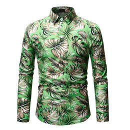 Plus Size Floral Shirt NZ - 2019 New Arrival Mens Shirt Palm Leaf Printed Beach Hawaiian Shirt Men Casual Long Sleeve Floral Shirts Chemise Homme Plus Size