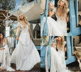 Short bohemian beach wedding dreSSeS online shopping - Vintage Bohemian Beach Wedding Dresses Deep V Neck Lace Appliqued Short Sleeves Bridal Gowns Chiffon Sweep Train Boho Wedding Dress