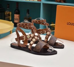 Gladiator Leather Shoe Australia - necessary Super brand designer sandals Gladiator sandals are made of vintage leather The female sandals Women's shoes VI232
