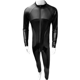 leather body xxl UK - Faux Leather Men Slim fit Bodysuit Long Sleeve Patchwork Open Crotch Zipper Gay Sexy Lingerie Body Night Club Jumpsuit Bodysuit
