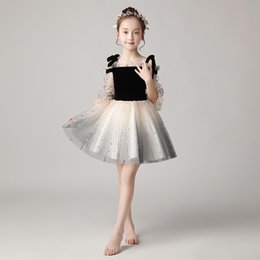 Piano costumes online shopping - 2019 children s host catwalk evening gowns fluffy girls girls birthday princess dress piano costumes