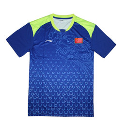Chinese  Li-Ning Men China table tennis shirts with Chinese flag , ping pong t-shirts , table tennis clothes 6031A manufacturers