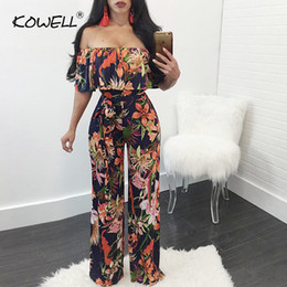 hottest jumpsuits Australia - Hot Sale Bohemian Palm Print Lace Up Jumpsuits&rompers Off Shoulder Plus Size Women Jumpsuit Summer Beach Sexy Jumpsuit Overalls MX190726