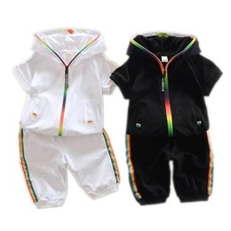 Wholesale Kids Short Sleeve Twinsets Tracksuit Children Summer Cotton Garment Baby Boys Girls Candy colored Zipper Hoodies Short Set