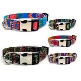 Leather coLLars dogs online shopping - Personalized Canvas Puppy Collar Metal Alloy Buckles Mulit Color Cat Dog Collars Printed Pet Necklaces New Arrival wn E1