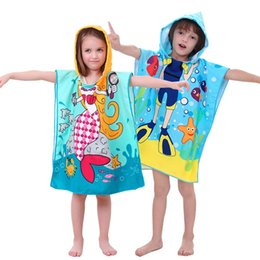 $enCountryForm.capitalKeyWord Australia - Cartoon Wear Bath Towel Cloak Microfiber Children Beach Towel Active Printing Hooded Beach Cloak Swimming Accessories Cute