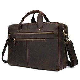 Wholesale Nesitu Vintage Brown Thick Genuine Crazy Horse Leather Laptop Men Briefcase Messenger Bags Portfolio M7389