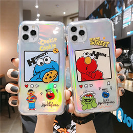 galaxy note cartoon phone cases NZ - Cartoon Sesame Street Laser carving cute Anti-fall For iphone 7 8Plus iphone X XR MAX 11 pro max Case Cover Phone Case Hight Quality