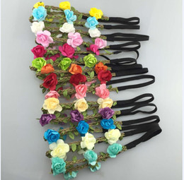 $enCountryForm.capitalKeyWord Australia - Hot sales of pure hand-made a large number of spot 14 color rose hair band Beach holiday hair accessories